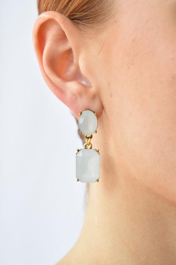 Biele perleťové náušnice Francesca