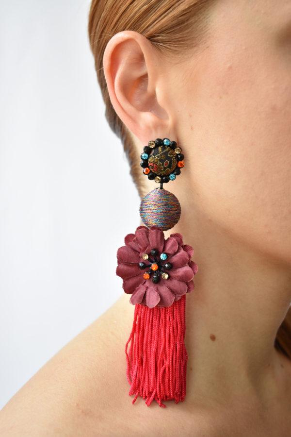Červené strapcové náušnice Flamenco