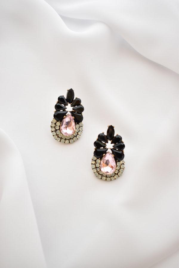 Čierne náušnice s ružovým kameňom Blacky