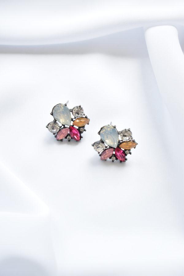 Perleťové náušnice s farebnými kryštálmi Emma