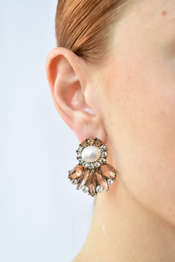 Perlové náušnice s kryštálom Rose
