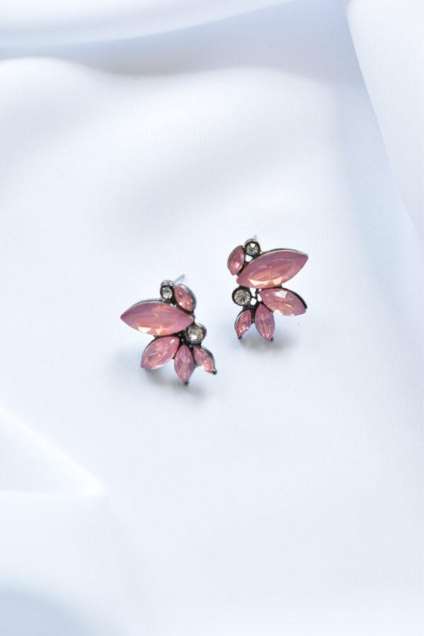 Ružové kryštálové náušnice Mariposa