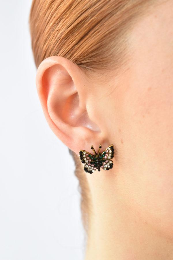 Štrasové motýlie náušnice Farfalla