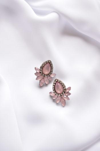Štrasové náušnice s ružovým kryštálom Beatrice