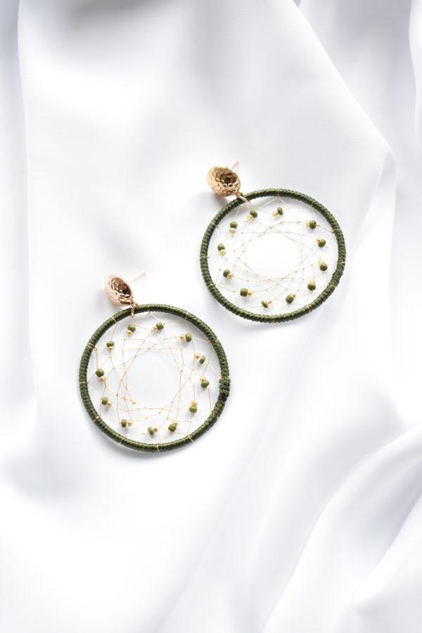 Zelené kruhové náušnice Liliana
