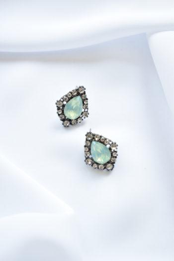 Zelené štrasové náušnice s kameňom Diana