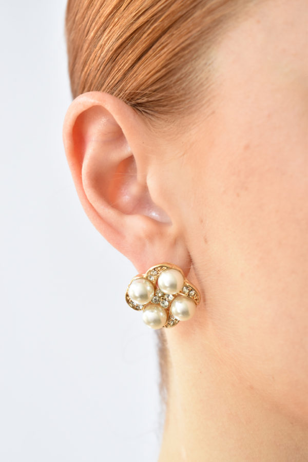 Zlaté perlové náušnice Quatro