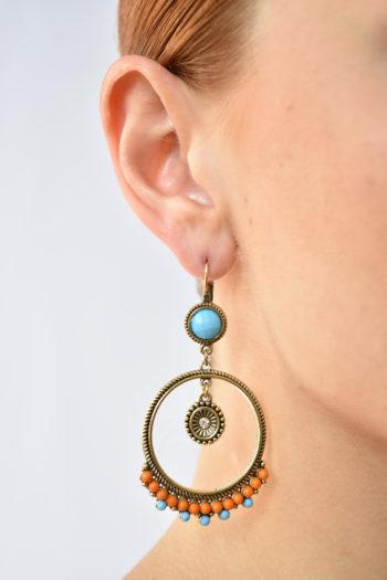 Bohémske kruhové náušnice s kamienkami Mujer