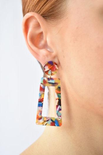 Geometrické farebné náušnice Marble