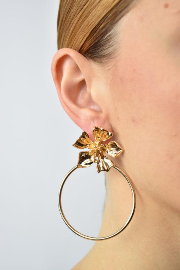 Kruhové náušnice s kvetom Hortensia