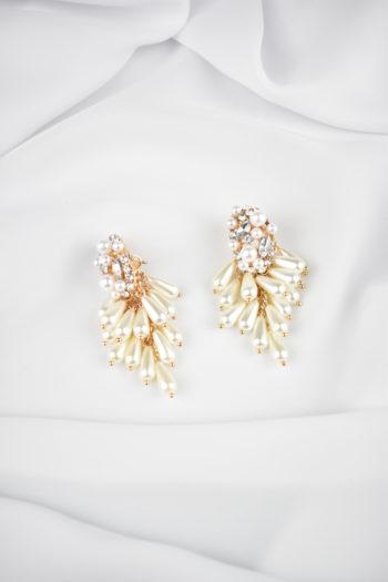 Zlaté visiace perlové náušnice Grace